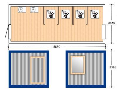Блок контейнер, Металлические бытовки, БК-7 душевая