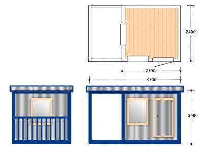 Блок контейнер, Металлические бытовки, БК-08-04 пост охрани с крыльцом